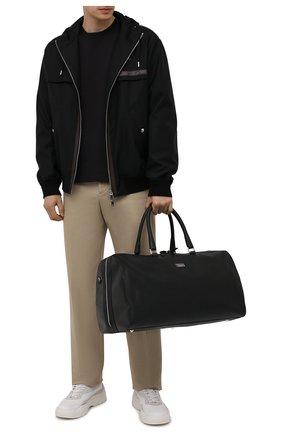 Мужская кожаная дорожная сумка KITON черного цвета, арт. UBFRIDSN00815   Фото 2