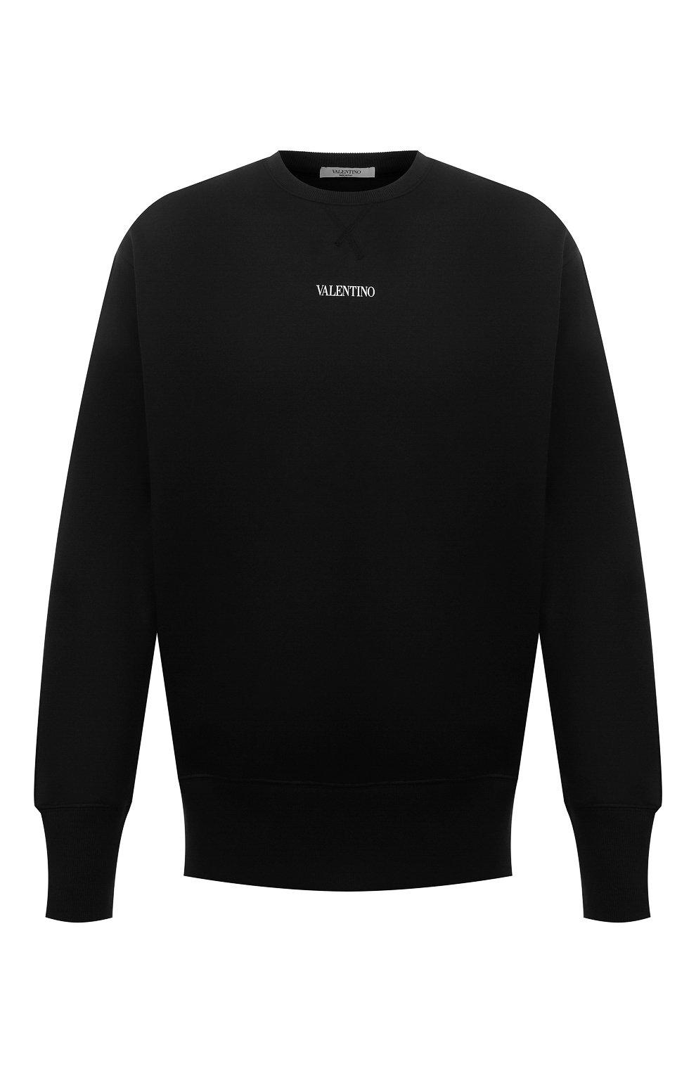 Мужской хлопковый свитшот VALENTINO черного цвета, арт. WV3MF18W7GF   Фото 1 (Мужское Кросс-КТ: свитшот-одежда; Материал внешний: Хлопок; Стили: Кэжуэл)