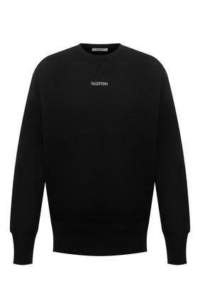 Мужской хлопковый свитшот VALENTINO черного цвета, арт. WV3MF18W7GF | Фото 1 (Материал внешний: Хлопок; Мужское Кросс-КТ: свитшот-одежда; Стили: Кэжуэл)