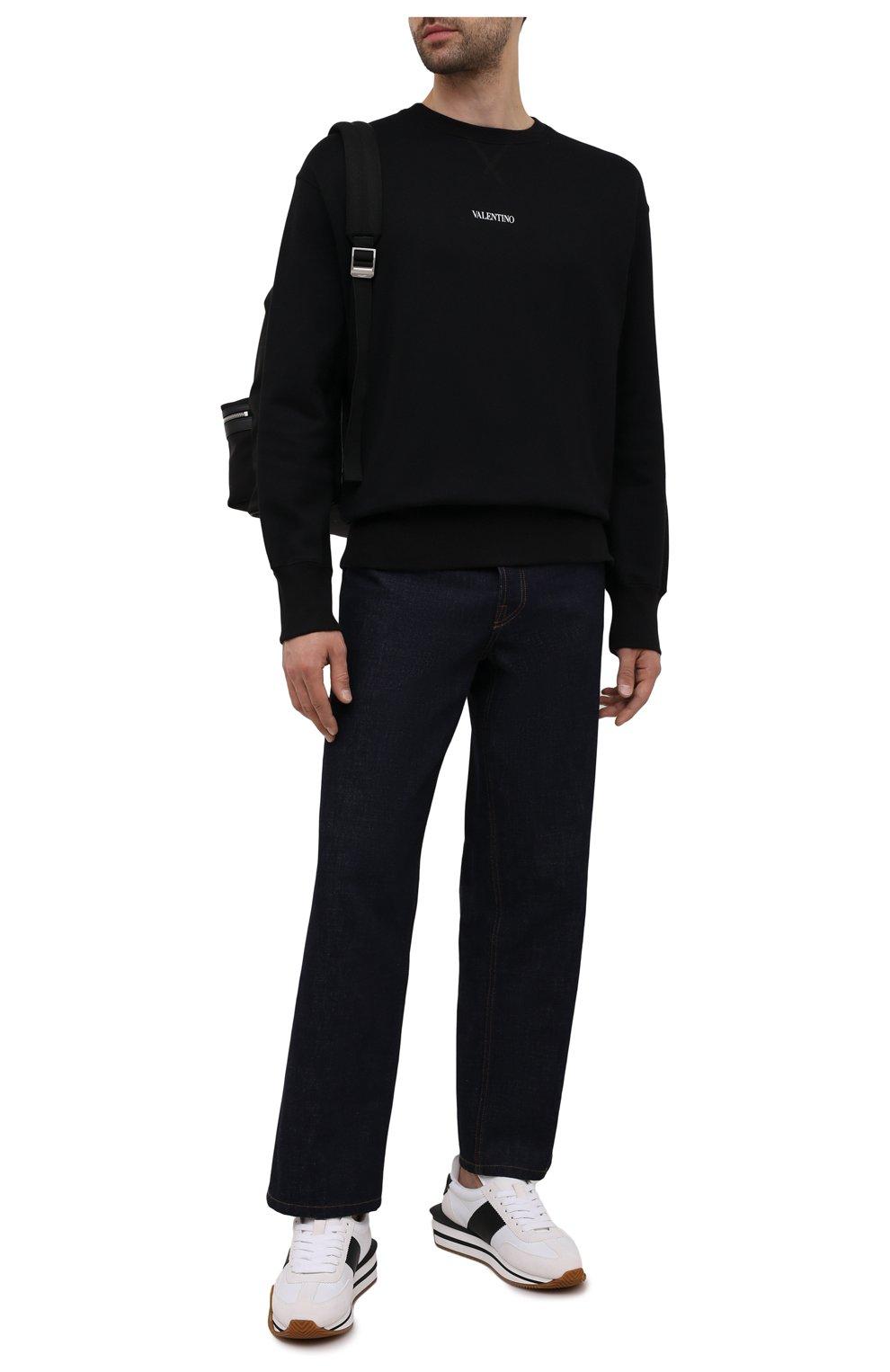 Мужской хлопковый свитшот VALENTINO черного цвета, арт. WV3MF18W7GF   Фото 2 (Мужское Кросс-КТ: свитшот-одежда; Материал внешний: Хлопок; Стили: Кэжуэл)