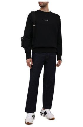 Мужской хлопковый свитшот VALENTINO черного цвета, арт. WV3MF18W7GF | Фото 2 (Материал внешний: Хлопок; Мужское Кросс-КТ: свитшот-одежда; Стили: Кэжуэл)