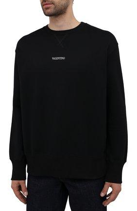 Мужской хлопковый свитшот VALENTINO черного цвета, арт. WV3MF18W7GF   Фото 3 (Мужское Кросс-КТ: свитшот-одежда; Материал внешний: Хлопок; Стили: Кэжуэл)