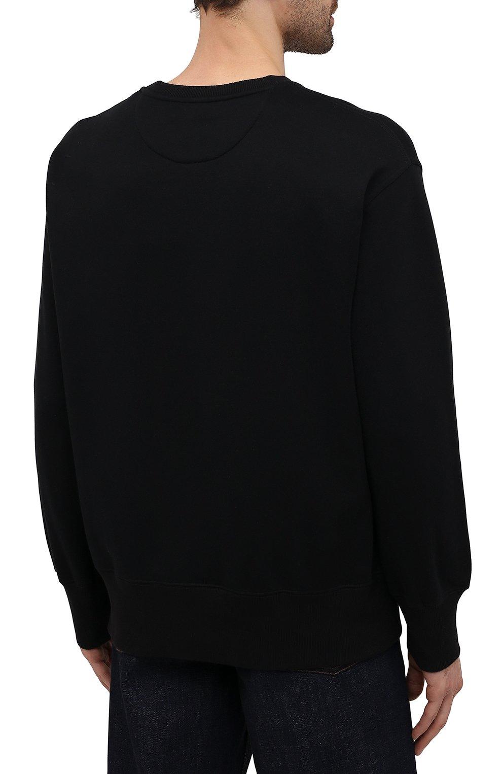 Мужской хлопковый свитшот VALENTINO черного цвета, арт. WV3MF18W7GF   Фото 4 (Мужское Кросс-КТ: свитшот-одежда; Материал внешний: Хлопок; Стили: Кэжуэл)