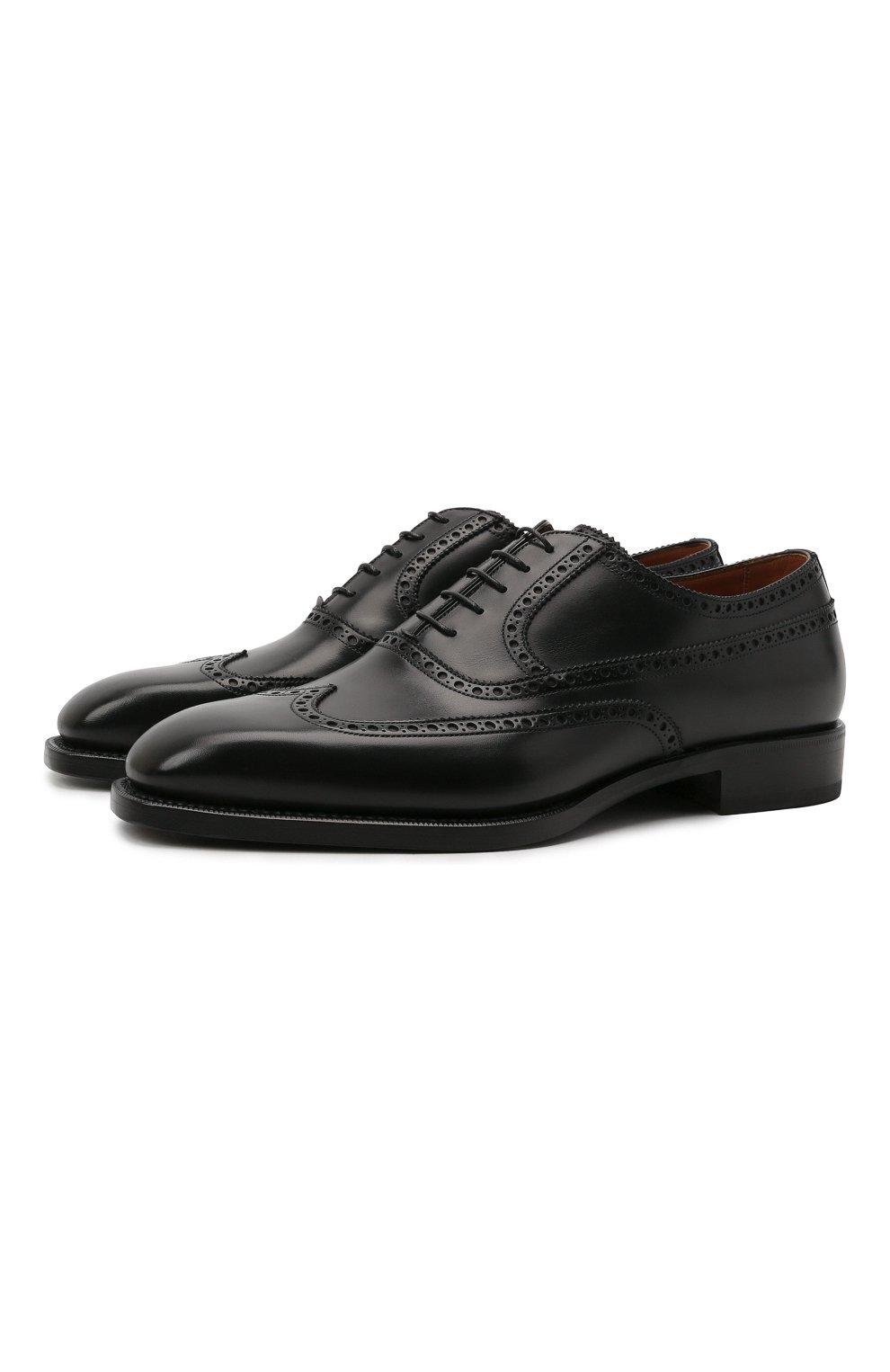 Мужские кожаные оксфорды W.GIBBS черного цвета, арт. 7335001/2253   Фото 1 (Мужское Кросс-КТ: Броги-обувь; Материал внутренний: Натуральная кожа; Стили: Классический)