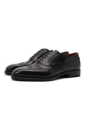 Мужские кожаные оксфорды W.GIBBS черного цвета, арт. 7335001/2253 | Фото 1