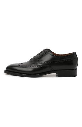 Мужские кожаные оксфорды W.GIBBS черного цвета, арт. 7335001/2253   Фото 3 (Мужское Кросс-КТ: Броги-обувь; Материал внутренний: Натуральная кожа; Стили: Классический)