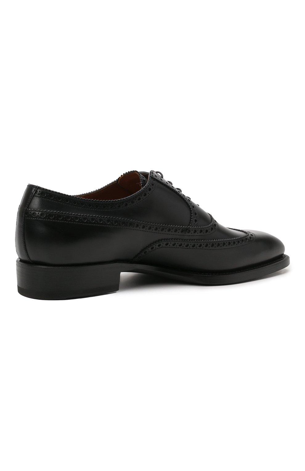 Мужские кожаные оксфорды W.GIBBS черного цвета, арт. 7335001/2253   Фото 4 (Мужское Кросс-КТ: Броги-обувь; Материал внутренний: Натуральная кожа; Стили: Классический)