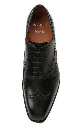 Мужские кожаные оксфорды W.GIBBS черного цвета, арт. 7335001/2253   Фото 5 (Мужское Кросс-КТ: Броги-обувь; Материал внутренний: Натуральная кожа; Стили: Классический)