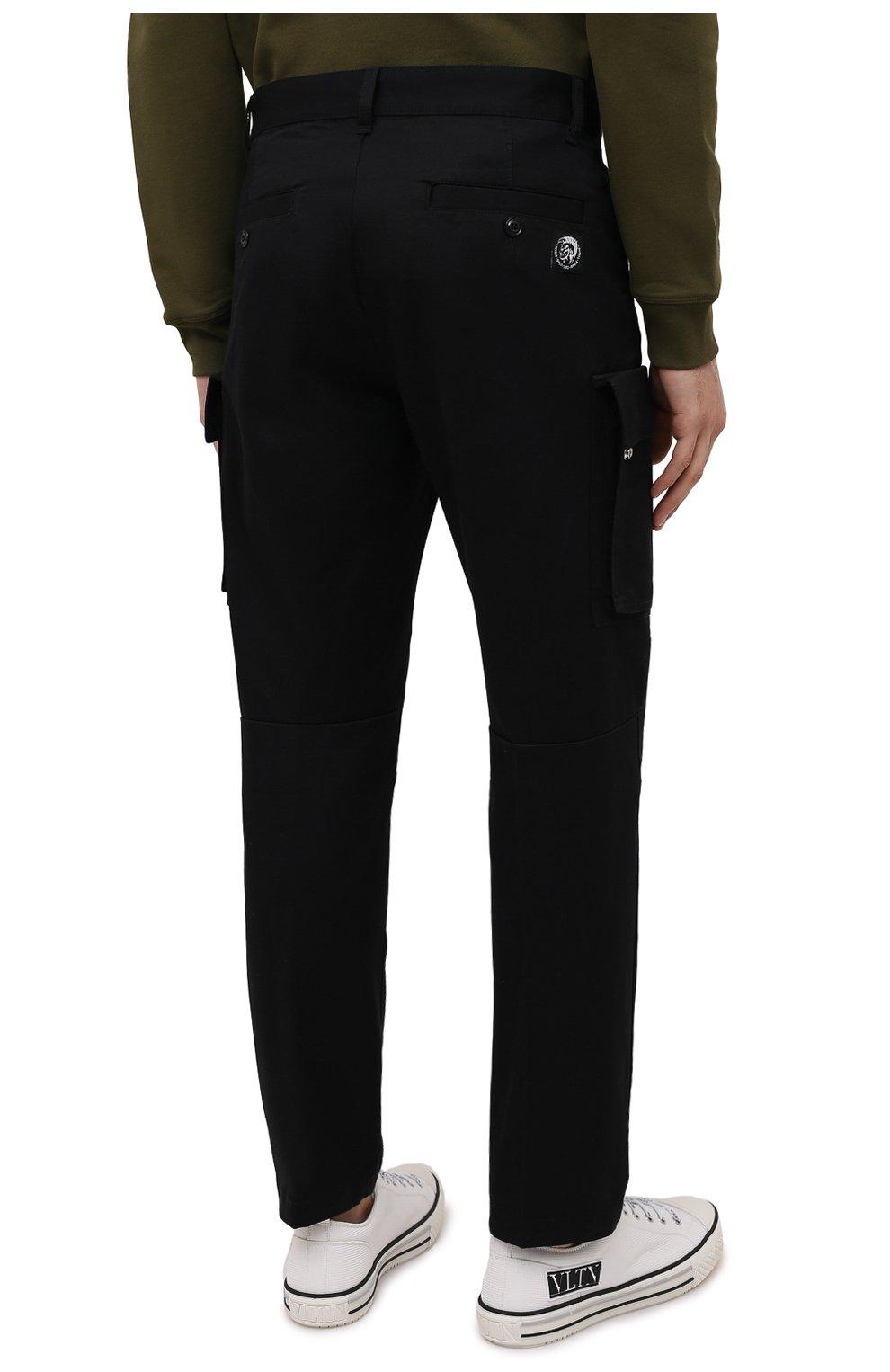 Мужские хлопковые брюки-карго DIESEL черного цвета, арт. A01681/0HCAV | Фото 4 (Силуэт М (брюки): Карго; Длина (брюки, джинсы): Стандартные; Случай: Повседневный; Стили: Гранж; Материал внешний: Хлопок)