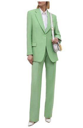 Женские брюки из шерсти и вискозы BOSS зеленого цвета, арт. 50460479 | Фото 2