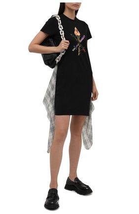 Женское хлопковое платье OPENING CEREMONY черного цвета, арт. YWDB017S21JER001   Фото 2 (Длина Ж (юбки, платья, шорты): Мини; Рукава: Короткие; Случай: Повседневный; Материал внешний: Хлопок; Стили: Спорт-шик; Женское Кросс-КТ: Платье-одежда)