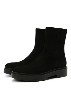 Женские замшевые ботинки SANTONI черного цвета, арт. WTHW59824SM0NMGDN01 | Фото 1 (Подошва: Платформа; Материал внутренний: Натуральная кожа; Каблук высота: Низкий; Женское Кросс-КТ: Военные ботинки; Материал внешний: Замша)