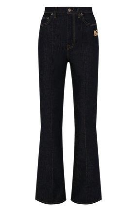 Женские джинсы DOLCE & GABBANA темно-синего цвета, арт. FTB7AD/G901Z   Фото 1 (Длина (брюки, джинсы): Удлиненные; Материал внешний: Хлопок; Силуэт Ж (брюки и джинсы): Расклешенные; Стили: Кэжуэл; Кросс-КТ: Деним)