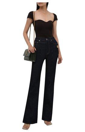 Женские джинсы DOLCE & GABBANA темно-синего цвета, арт. FTB7AD/G901Z   Фото 2 (Длина (брюки, джинсы): Удлиненные; Материал внешний: Хлопок; Силуэт Ж (брюки и джинсы): Расклешенные; Стили: Кэжуэл; Кросс-КТ: Деним)