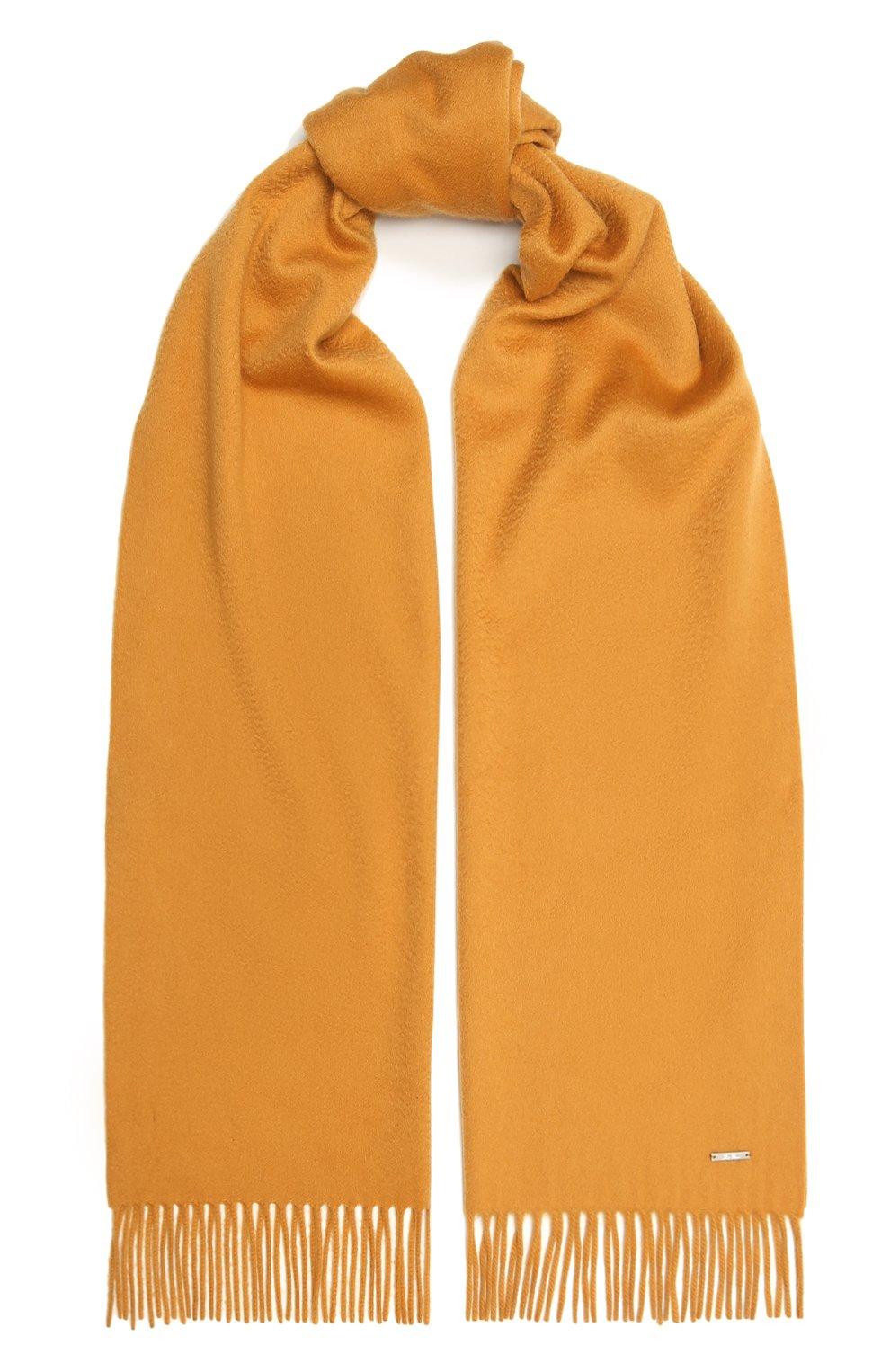 Женский кашемировый шарф grande unita LORO PIANA желтого цвета, арт. FAA1056 | Фото 1 (Материал: Кашемир, Шерсть)