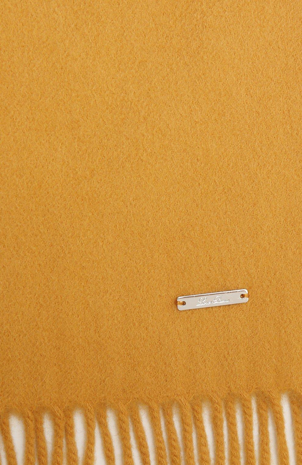 Женский кашемировый шарф grande unita LORO PIANA желтого цвета, арт. FAA1056 | Фото 2 (Материал: Кашемир, Шерсть)