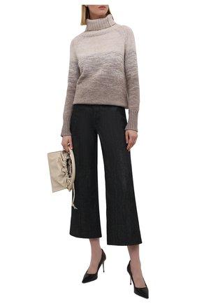 Женский свитер из шерсти и кашемира MANZONI24 коричневого цвета, арт. 21M349-XSFUM/38-46   Фото 2