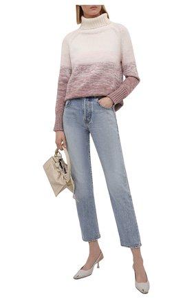Женский свитер из шерсти и кашемира MANZONI24 розового цвета, арт. 21M349-XSFUM/38-46   Фото 2