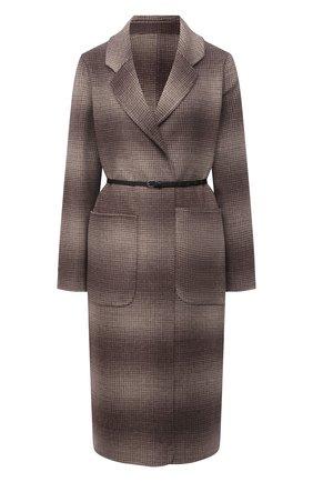 Женское шерстяное пальто MANZONI24 коричневого цвета, арт. 21M750-SFUML8/38-46   Фото 1