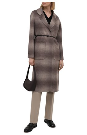 Женское шерстяное пальто MANZONI24 коричневого цвета, арт. 21M750-SFUML8/38-46   Фото 2