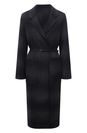 Женское шерстяное пальто MANZONI24 темно-синего цвета, арт. 21M750-SFUML8/38-46   Фото 1