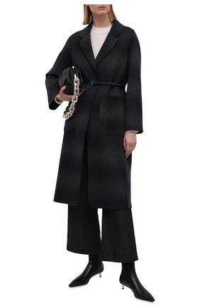Женское шерстяное пальто MANZONI24 темно-синего цвета, арт. 21M750-SFUML8/38-46   Фото 2