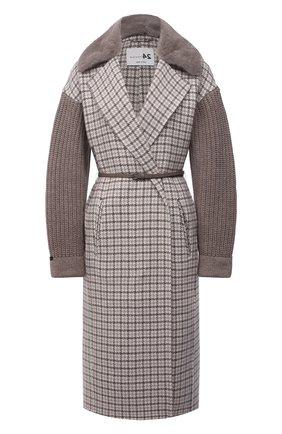 Женское кашемировое пальто MANZONI24 коричневого цвета, арт. 21M523-PDP5VXCL8/38-46 | Фото 1 (Материал внешний: Шерсть, Кашемир; Рукава: Длинные; Длина (верхняя одежда): До колена; 1-2-бортные: Однобортные; Стили: Кэжуэл)