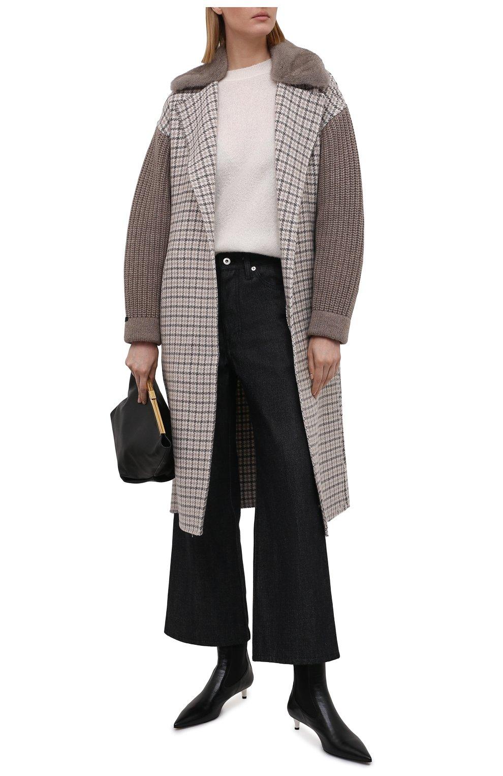 Женское кашемировое пальто MANZONI24 коричневого цвета, арт. 21M523-PDP5VXCL8/38-46 | Фото 2 (Материал внешний: Шерсть, Кашемир; Рукава: Длинные; Длина (верхняя одежда): До колена; 1-2-бортные: Однобортные; Стили: Кэжуэл)