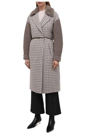 Женское кашемировое пальто MANZONI24 коричневого цвета, арт. 21M523-PDP5VXCL8/38-46 | Фото 3 (Материал внешний: Шерсть, Кашемир; Рукава: Длинные; Длина (верхняя одежда): До колена; 1-2-бортные: Однобортные; Стили: Кэжуэл)