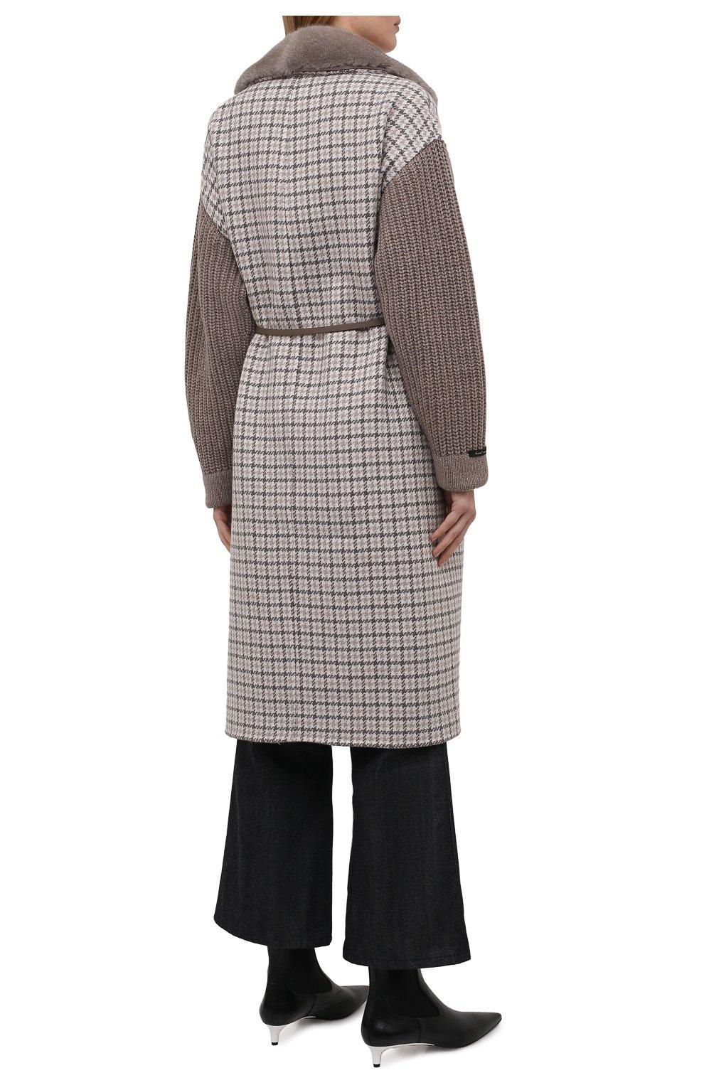 Женское кашемировое пальто MANZONI24 коричневого цвета, арт. 21M523-PDP5VXCL8/38-46 | Фото 4 (Материал внешний: Шерсть, Кашемир; Рукава: Длинные; Длина (верхняя одежда): До колена; 1-2-бортные: Однобортные; Стили: Кэжуэл)