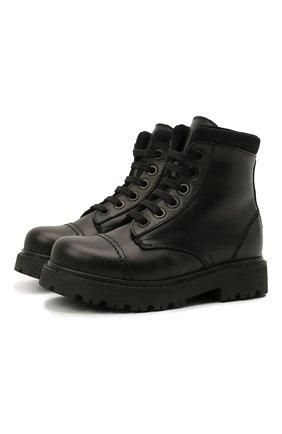 Детские кожаные ботинки MONTELPARE TRADITION черного цвета, арт. MT19202/VITELL0/NAKAI/28-35 | Фото 1