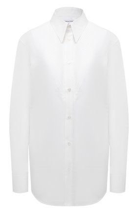 Женская хлопковая рубашка BOTTEGA VENETA белого цвета, арт. 667094/V11Q0 | Фото 1 (Рукава: Длинные; Материал внешний: Хлопок; Принт: Без принта; Женское Кросс-КТ: Рубашка-одежда; Длина (для топов): Удлиненные; Стили: Гламурный)