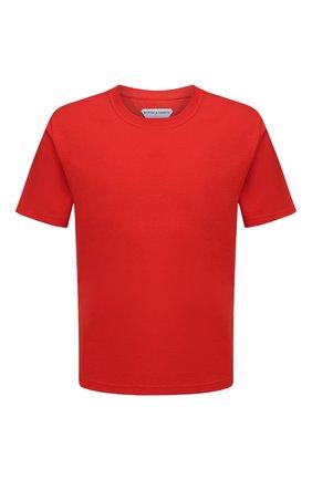 Мужская хлопковая футболка BOTTEGA VENETA красного цвета, арт. 649055/VF1U0 | Фото 1 (Материал внешний: Хлопок; Принт: Без принта; Длина (для топов): Стандартные; Стили: Минимализм; Рукава: Короткие)