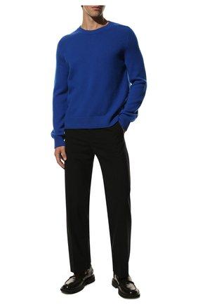 Мужской шерстяной свитер BOTTEGA VENETA синего цвета, арт. 638771/V07J0 | Фото 2 (Материал внешний: Шерсть; Принт: Без принта; Стили: Минимализм; Рукава: Длинные; Длина (для топов): Стандартные)