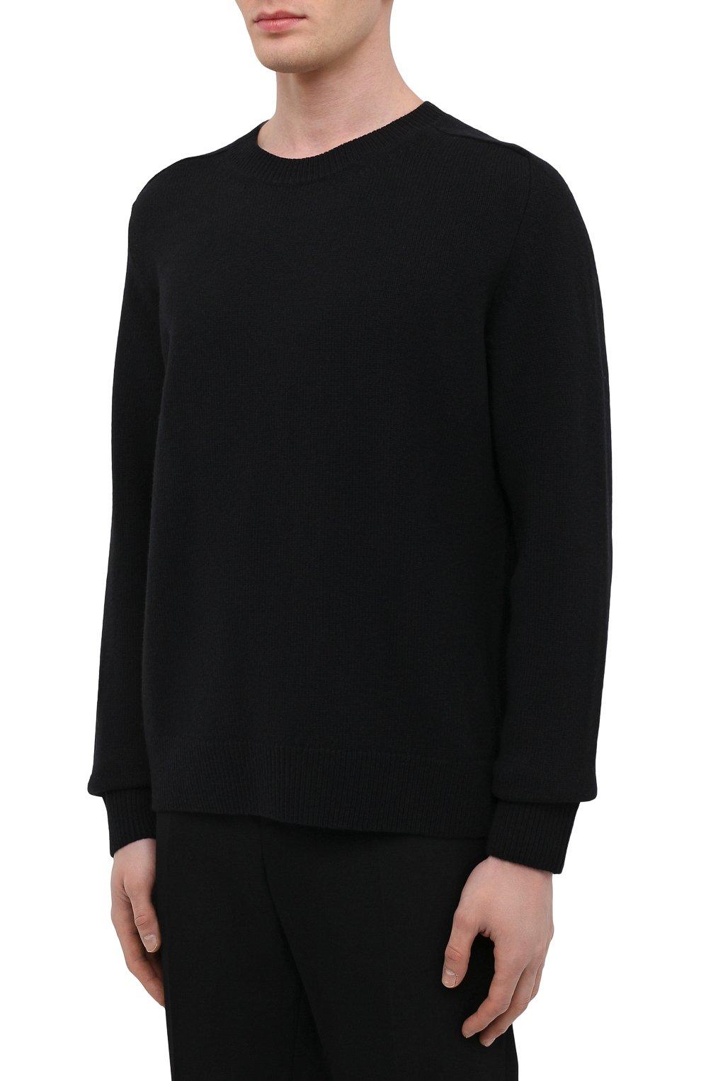 Мужской шерстяной свитер BOTTEGA VENETA темно-синего цвета, арт. 638771/V07J0 | Фото 3 (Материал внешний: Шерсть; Рукава: Длинные; Принт: Без принта; Длина (для топов): Стандартные; Стили: Минимализм)