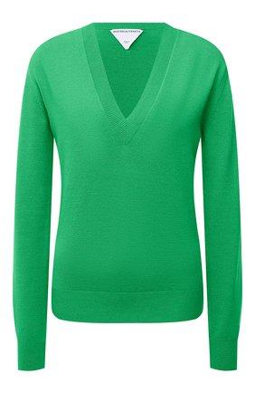 Женский шерстяной пуловер BOTTEGA VENETA зеленого цвета, арт. 668585/V0ZY0 | Фото 1