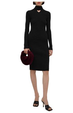Женское шерстяное платье BOTTEGA VENETA темно-серого цвета, арт. 664857/V17R0 | Фото 2 (Материал внешний: Шерсть; Длина Ж (юбки, платья, шорты): До колена; Женское Кросс-КТ: Платье-одежда; Рукава: Длинные; Кросс-КТ: Трикотаж; Стили: Гламурный; Случай: Повседневный)