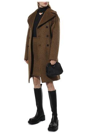 Женская шерстяная водолазка BOTTEGA VENETA темно-серого цвета, арт. 662397/V17R0 | Фото 2 (Материал внешний: Шерсть; Длина (для топов): Стандартные; Рукава: Длинные; Стили: Гламурный; Женское Кросс-КТ: Водолазка-одежда)