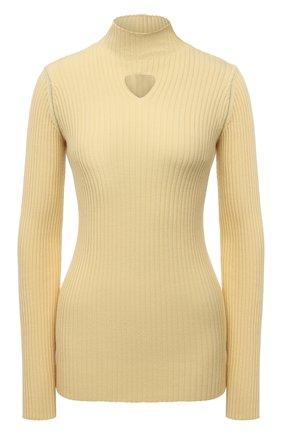 Женская шерстяная водолазка BOTTEGA VENETA желтого цвета, арт. 662397/V0Z80   Фото 1 (Материал внешний: Шерсть; Длина (для топов): Стандартные; Рукава: Длинные; Женское Кросс-КТ: Водолазка-одежда; Стили: Гламурный)