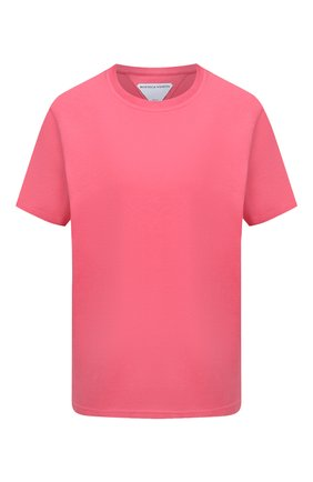 Женская хлопковая футболка BOTTEGA VENETA розового цвета, арт. 649060/VF1U0   Фото 1 (Материал внешний: Хлопок; Принт: Без принта; Длина (для топов): Стандартные; Рукава: Короткие; Женское Кросс-КТ: Футболка-одежда; Стили: Гламурный)