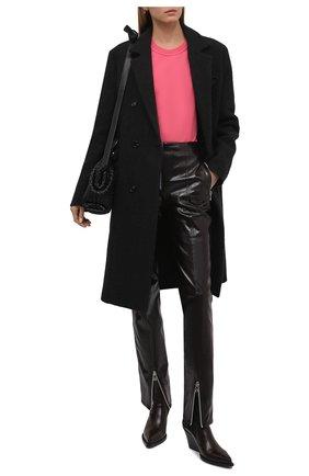 Женская хлопковая футболка BOTTEGA VENETA розового цвета, арт. 649060/VF1U0   Фото 2 (Материал внешний: Хлопок; Принт: Без принта; Длина (для топов): Стандартные; Рукава: Короткие; Женское Кросс-КТ: Футболка-одежда; Стили: Гламурный)