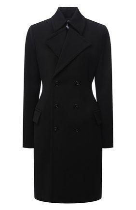 Женское шерстяное пальто BOTTEGA VENETA черного цвета, арт. 666186/V0IV0   Фото 1 (Длина (верхняя одежда): До колена; Материал внешний: Шерсть; Материал утеплителя: Шерсть; Рукава: Длинные; Стили: Гламурный; 1-2-бортные: Двубортные)
