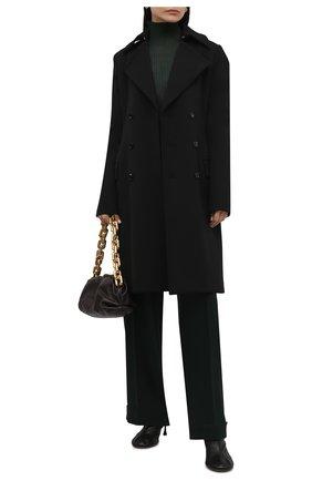 Женское шерстяное пальто BOTTEGA VENETA черного цвета, арт. 666186/V0IV0   Фото 2 (Длина (верхняя одежда): До колена; Материал внешний: Шерсть; Материал утеплителя: Шерсть; Рукава: Длинные; Стили: Гламурный; 1-2-бортные: Двубортные)