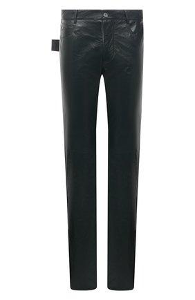 Мужские кожаные брюки BOTTEGA VENETA темно-зеленого цвета, арт. 663227/V0W21 | Фото 1 (Материал подклада: Хлопок; Длина (брюки, джинсы): Стандартные; Случай: Повседневный; Стили: Гранж)