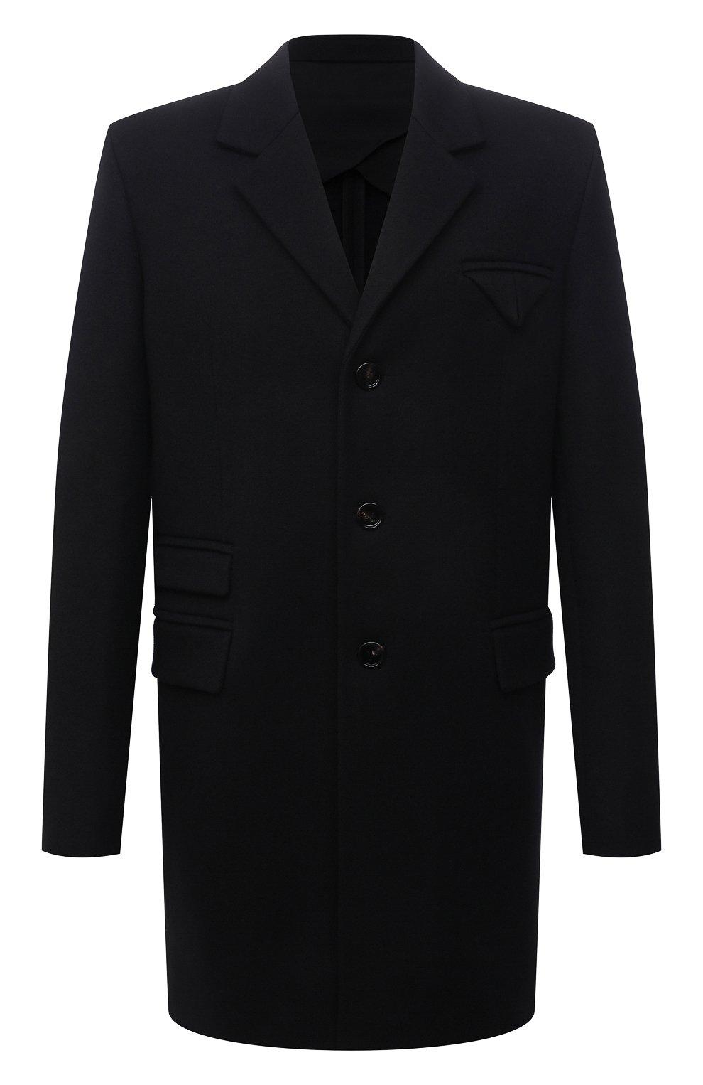 Мужской шерстяное пальто BOTTEGA VENETA черного цвета, арт. 659597/VKUU0 | Фото 1 (Материал внешний: Шерсть; Рукава: Длинные; Длина (верхняя одежда): До середины бедра; Стили: Классический, Минимализм; Материал подклада: Вискоза; Мужское Кросс-КТ: пальто-верхняя одежда)