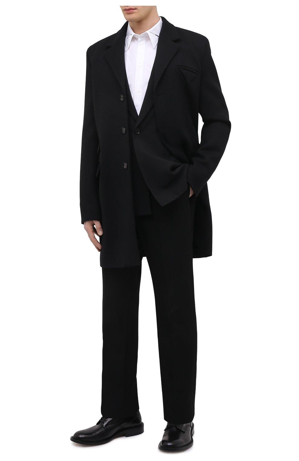 Мужской шерстяное пальто BOTTEGA VENETA черного цвета, арт. 659597/VKUU0 | Фото 2 (Материал внешний: Шерсть; Рукава: Длинные; Длина (верхняя одежда): До середины бедра; Стили: Классический, Минимализм; Материал подклада: Вискоза; Мужское Кросс-КТ: пальто-верхняя одежда)
