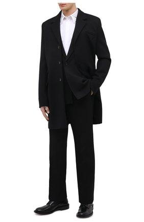 Мужской шерстяное пальто BOTTEGA VENETA черного цвета, арт. 659597/VKUU0 | Фото 2 (Материал внешний: Шерсть; Материал подклада: Вискоза; Длина (верхняя одежда): До середины бедра; Рукава: Длинные; Стили: Классический, Минимализм; Мужское Кросс-КТ: пальто-верхняя одежда)