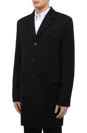 Мужской шерстяное пальто BOTTEGA VENETA черного цвета, арт. 659597/VKUU0 | Фото 3 (Материал внешний: Шерсть; Рукава: Длинные; Длина (верхняя одежда): До середины бедра; Стили: Классический, Минимализм; Материал подклада: Вискоза; Мужское Кросс-КТ: пальто-верхняя одежда)
