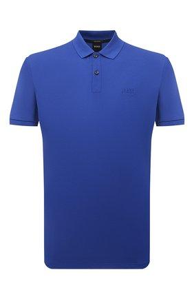 Мужское хлопковое поло BOSS синего цвета, арт. 50425985 | Фото 1
