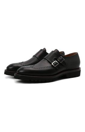 Мужские кожаные монки KITON черного цвета, арт. USSWALTN00100 | Фото 1 (Материал внутренний: Натуральная кожа; Стили: Классический; Мужское Кросс-КТ: Броги-обувь)